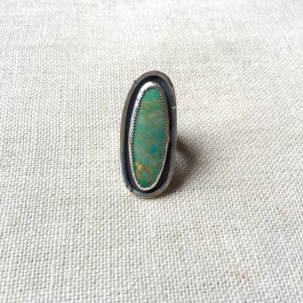 Single Turquoise Line Framed Ring
