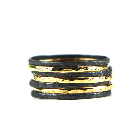 Stacking Rings in Gold and Oxidized Silver