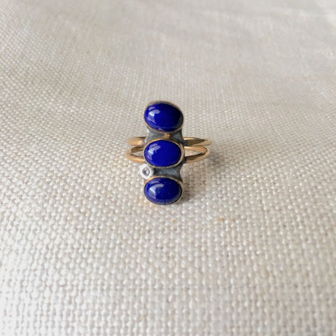 Triple Lapis Diamond Ring