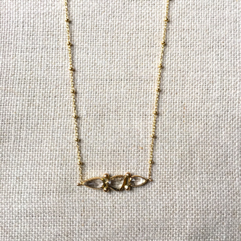 Triple Morganite Necklace in 14k Gold