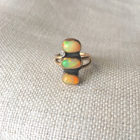 Triple African Opal Diamond Ring