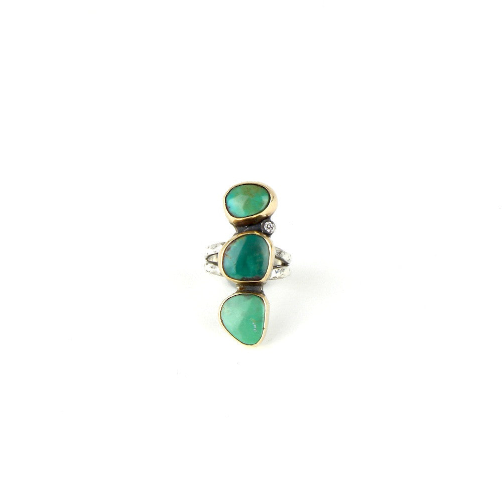 Triple Turquoise Ring with Diamond