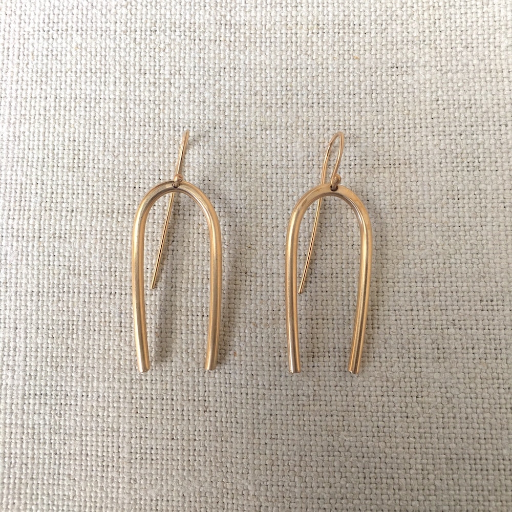 Large Gold Fill Tuning Fork Earrings