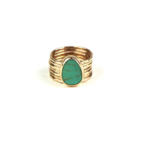 Turquoise Stacking Ring Set in Gold Fill