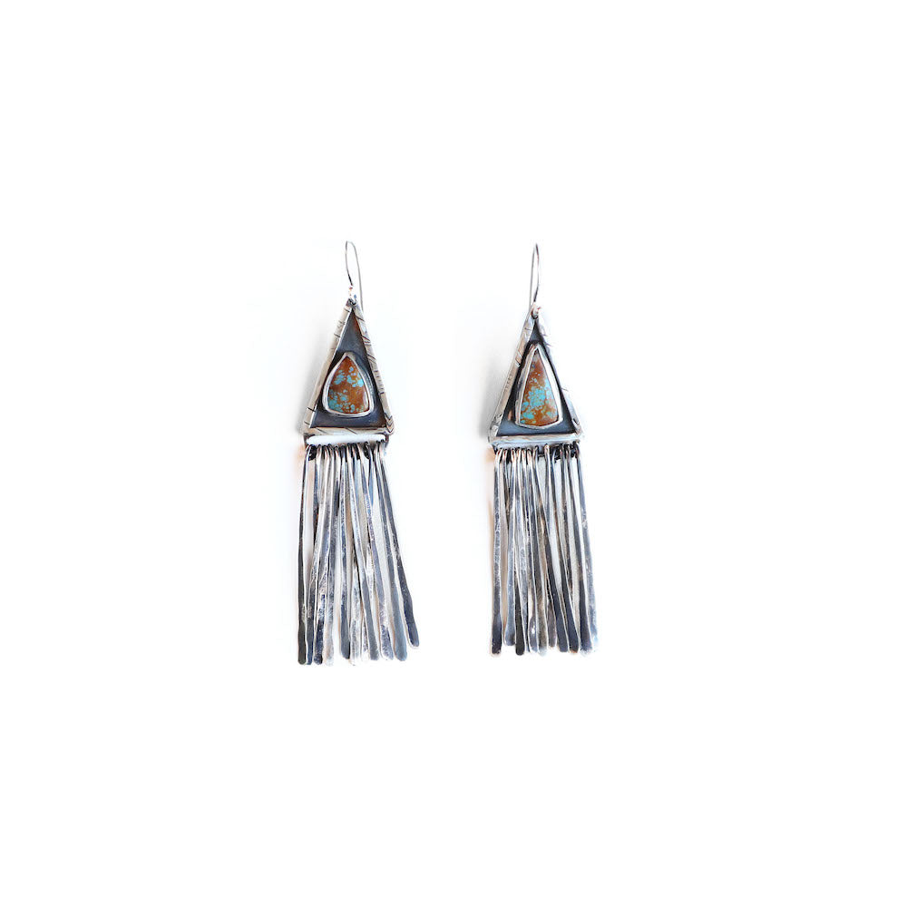 Triangle Turquoise Tassle Earrings