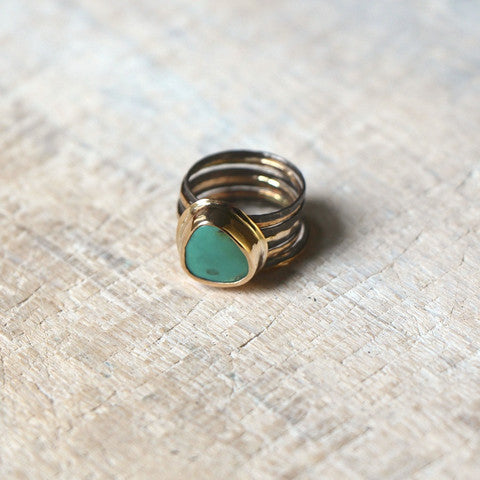Turquoise Stacking Ring Set in Oxidized Silver and Gold Fill