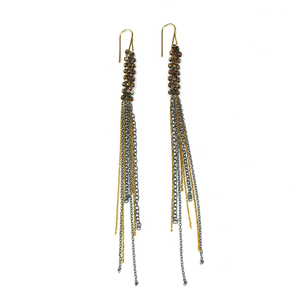 Gold Woven Bead Earrings