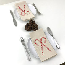 Load image into Gallery viewer, Candy Cane Napkin Set of 2