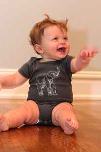 Elephant Short Sleeve Baby Bodysuit
