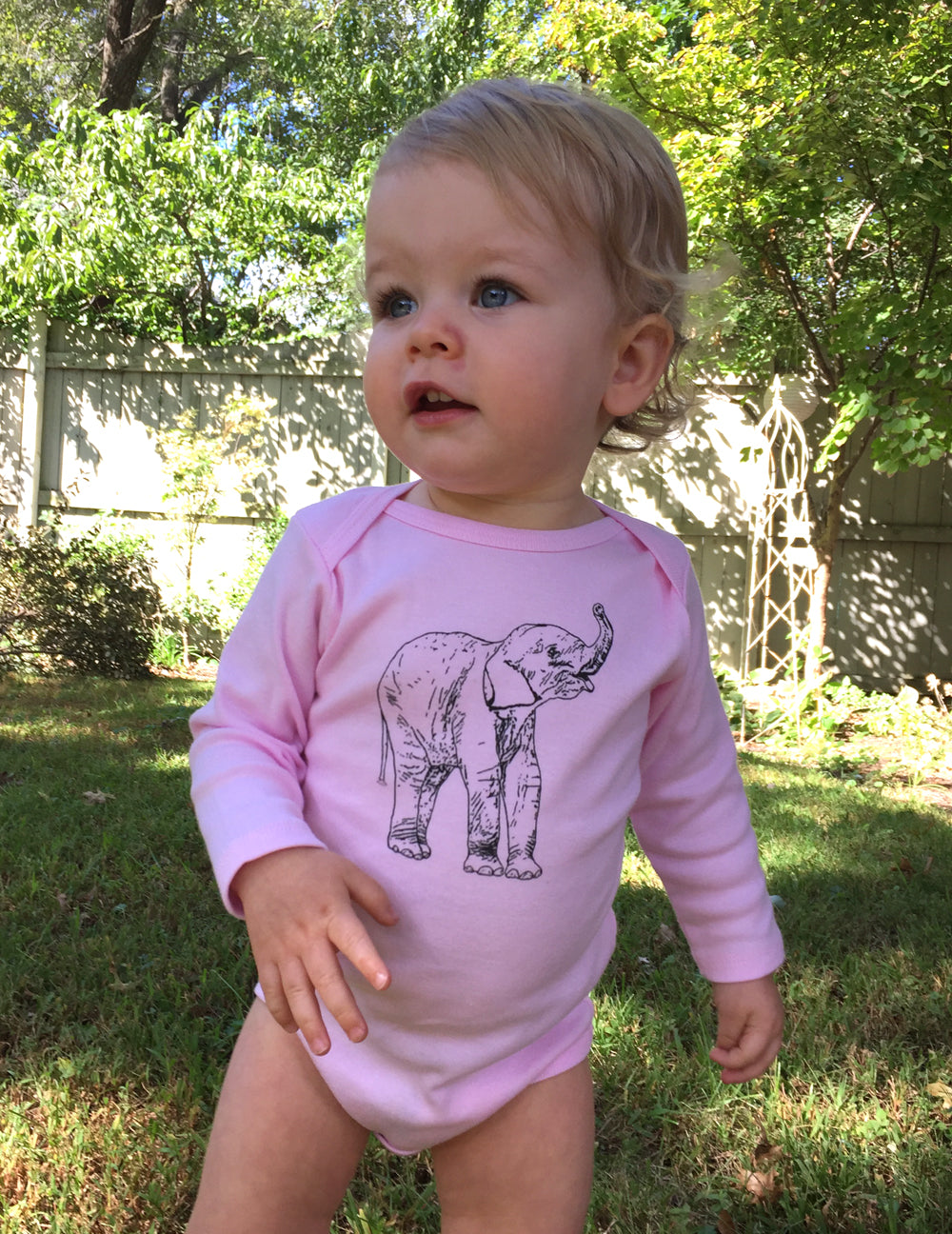 Elephant Long Sleeve Baby Bodysuit