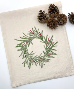 Holiday Wreath Flour Sack Towel