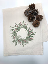 Load image into Gallery viewer, Holiday Wreath Flour Sack Towel