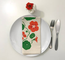 Load image into Gallery viewer, Nasturtium flower napkin set of two