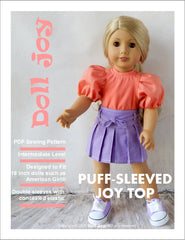 80s Puffed Sleeve Joy Top 18 Inch Doll Clothes Pattern Pixie Faire