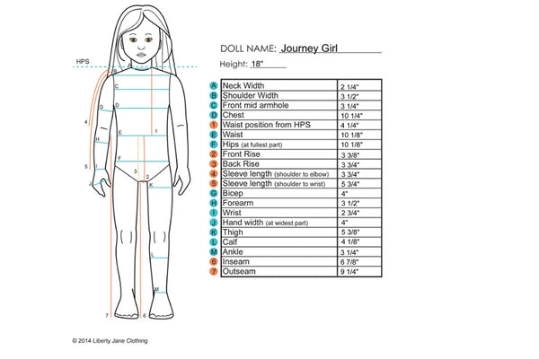Journey Girls® Measurement Sheet