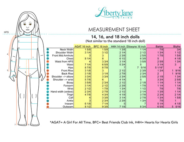 18 Inch Doll Measurements | Pixie Faire