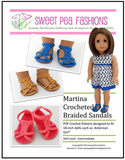 Martina Crocheted Braided Sandals for 18-inch dolls