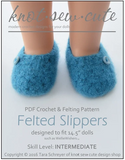 Felted Slippers Crochet Pattern for 14.5-inch dolls