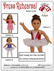 Dress Rehearsal Ballet Costume PDF Pattern For 18-inch dolls