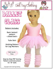 Ballet Class Leotard and Tulle Skirt PDf Pattern For 18-inch dolls
