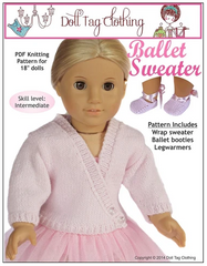 Ballet Sweater PDF Knitting Pattern For 18-inch dolls