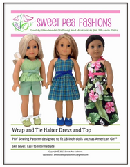 Wrap and Tie Halter Dress and Top Pattern For 18-inch dolls