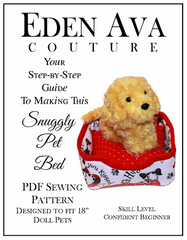 Pet Bed Sewing Pattern For 18-inch doll pets