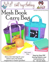 Mesh Book Carry Bag PDF Sewing Pattern For 18-inch dolls