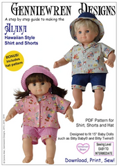 Hawaiian Style Shirt and Shorts Pattern For 15-inch Baby Dolls