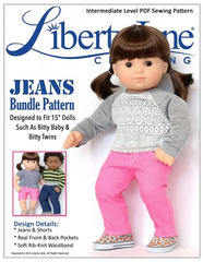 Jeans and shorts Sewing Pattern For 15-inch Baby Dolls