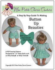 Button Up Beauties Sewing Pattern For Twin 15-inch Baby dolls