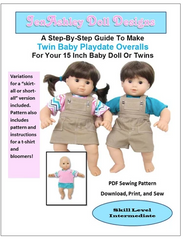 Playdate Overalls Sewing Pattern For 15-inch Twin Baby Dolls