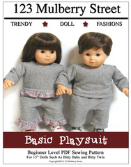 Basic Playsuit Sewing Pattern for 15-inch Twin Baby Dolls