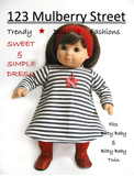 Sweet and simple Dress Sewing Pattern For 15-inch Baby Dolls