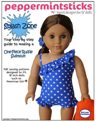 Splash Zone One Shoulder One Piece swimsuit sewing pattern for 18-inch dolls