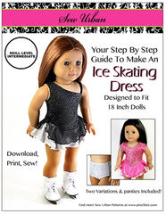 One Shoulder Ice Skating Dress Sewing Pattern For 18-inch Dolls