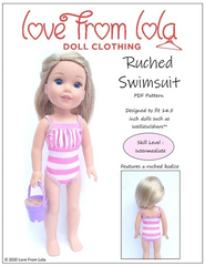 Ruched Swimsuit Sewing Pattern For 14.5-inch Dolls