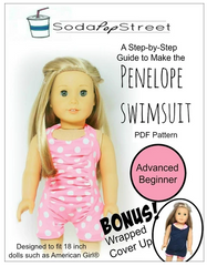 Penelope Ruched Front Swimsuit Sewing Pattern For 18-inch Dolls