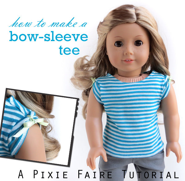 American Girl doll bow sleeve t-shirt