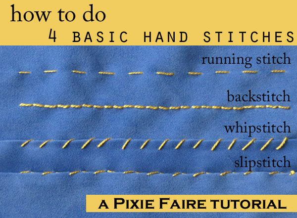 How to do four basic hand stitches tutorial on pixie faire com