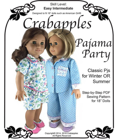 "Pajama Party 18"" Doll Clothes Pattern"