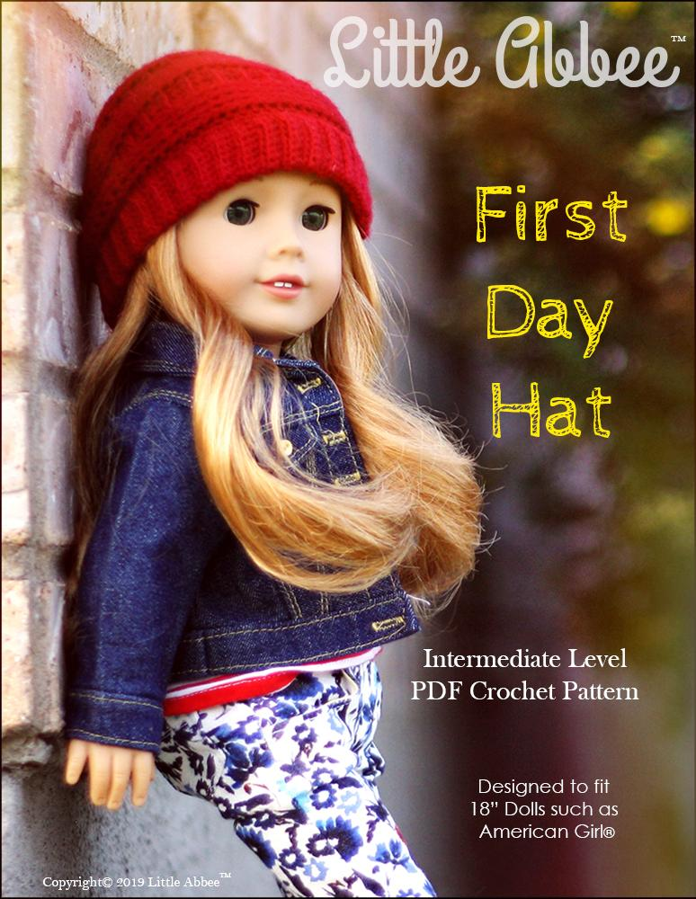 d5c008407 Little Abbee First Day Hat Doll Clothes Pattern 18 inch American ...