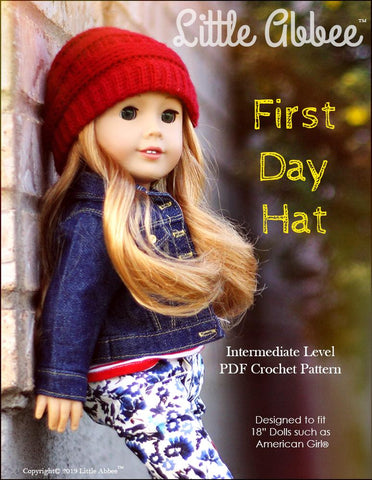 "First Day Hat 18"" Doll Crochet Pattern"