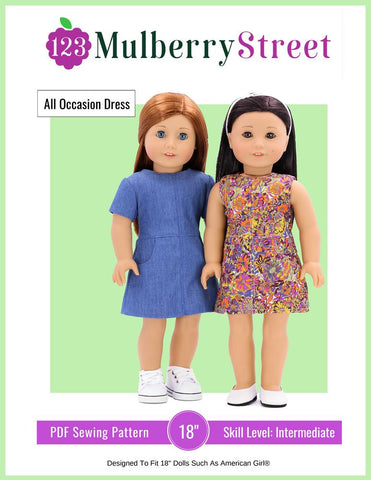 "All Occasion Dress 18"" Doll Clothes Pattern"