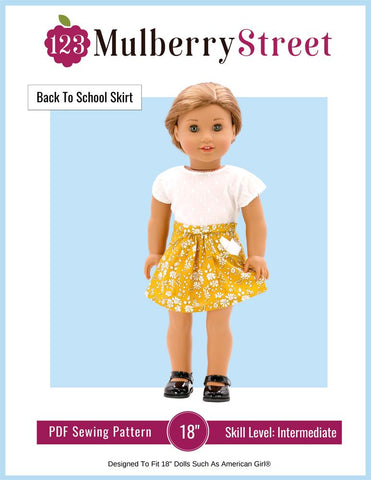 "123 Mulberry Street 18 Inch Modern Back to School Skirt 18"" Doll Clothes Pattern Pixie Faire"