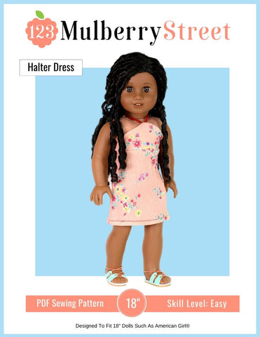 "Halter Dress 18"" Doll Clothes Pattern"