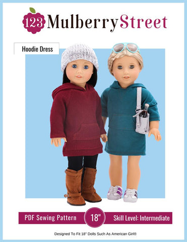 "Hoodie Dress 18"" Doll Clothes Pattern"