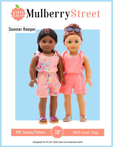 "Summer Romper 18"" Doll Clothes Pattern"