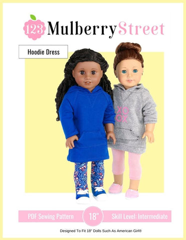 "123 Mulberry Street 18 Inch Modern Hoodie Dress 18"" Doll Clothes Pattern Pixie Faire"