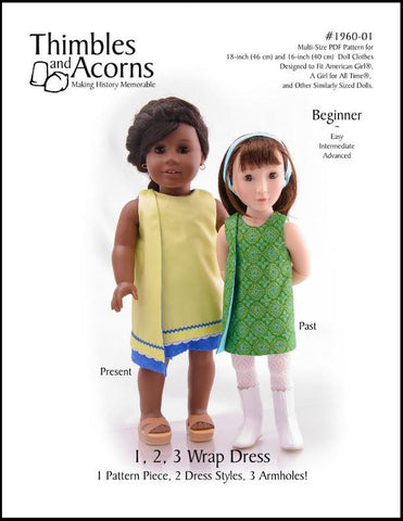 1960s Wrap Dress 18 Inch Doll Clothes Pattern